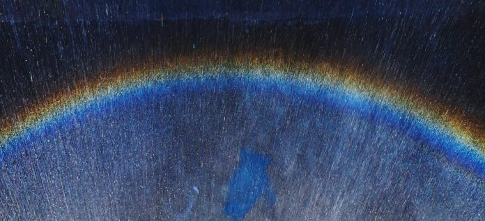 colorful blurred rainbow reflection on wet texture